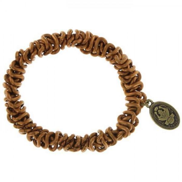 Konplott Bead Snakes braunes elastisches Armband