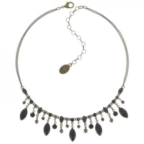 Konplott Dangling Navette Halskette schwarz blau