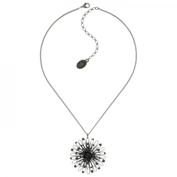 Konplott Distel Halskette im eleganten schwarz