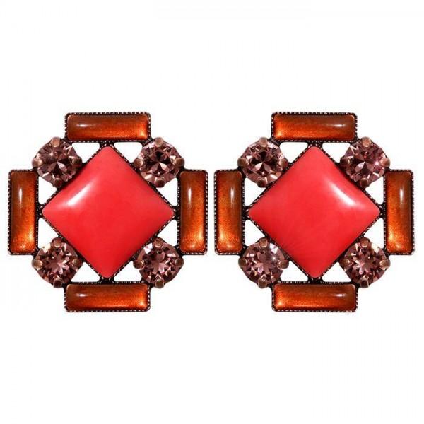 Konplott Ohrstecker aus der Kollektion Art Deco in einem strahlenden rot