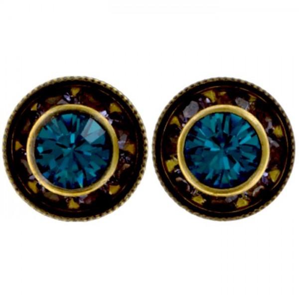 Runde Ohrstecker in der Mitte mit einem blauen Swarovski Element und rose umrahmt von Konplott