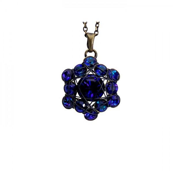 Konplott Halskette Bended Lights besetzt mit 13 Swarovski Elements in blau lila