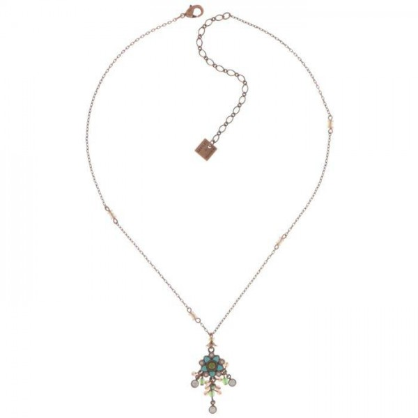 Konplott Mandala Halskette in braun grün