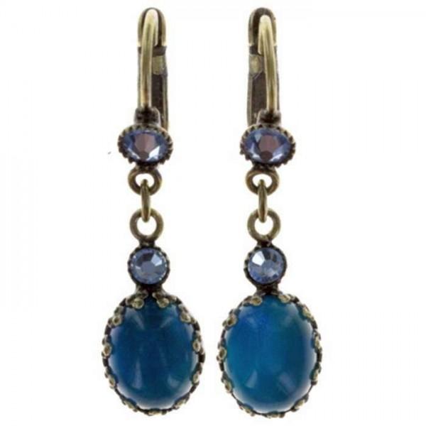 Konplott Melody Drops Ohrringe erstrahlen mit blauen Swarovski Elements und ovalen Stein
