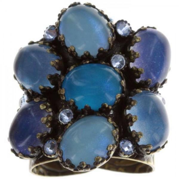 Konplott Melody Drops Ring in blau erstrahlt mit funkelnden Swarovski Elements