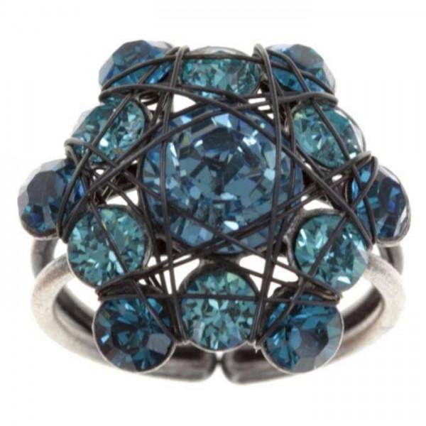 Konplott Bended Lights Ring Funkel mit 13 blau multi farbenen Swarovski Elements