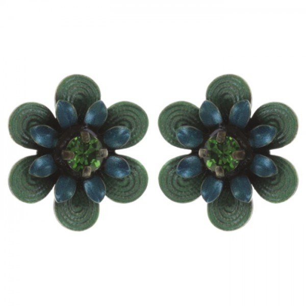 Konplott Mille Fleurs Ohrstecker in blau grün